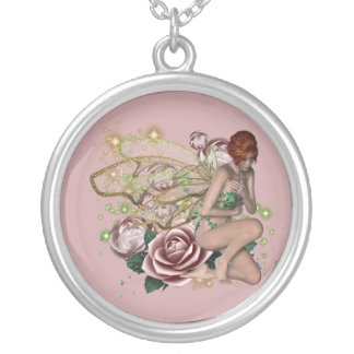 KRW Pink Rose Fairy Fantasy Silver Necklace
