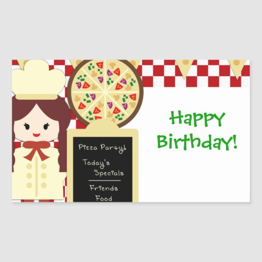 KRW Pizza Happy Birthday Party Girl Sticker