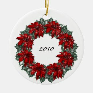 KRW Poinsettia Wreath Dated Christmas Ornament