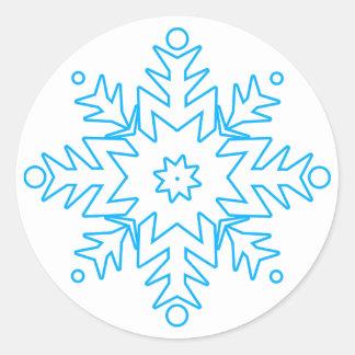 KRW Pretty Blue Snowflake Holiday Classic Round Sticker