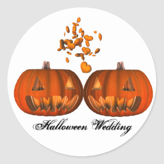KRW Pumpkin Love Halloween Wedding Classic Round Sticker