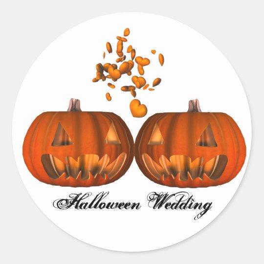 KRW Pumpkin Love Halloween Wedding Classic Round Sticker
