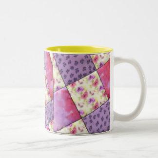 KRW Purple Floral Quilt Two-Tone Coffee Mug