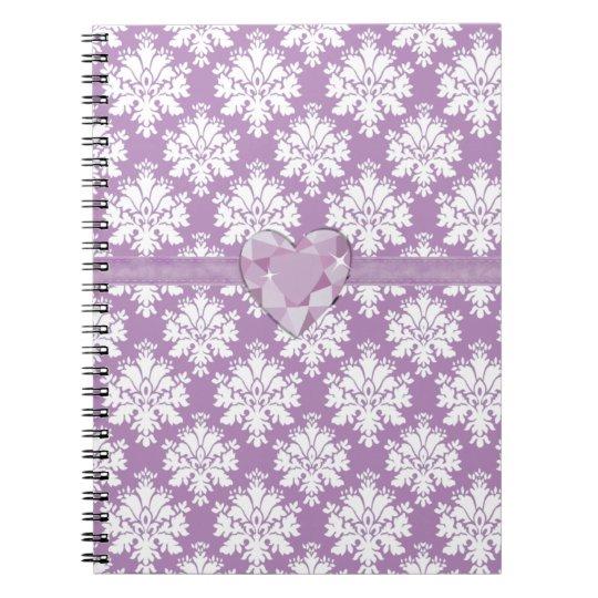 KRW Purple Jewelled Heart Damask Lined Notebook
