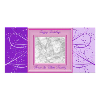 KRW Purple Victorian Custom Photo Holiday Card Custom Photo Card