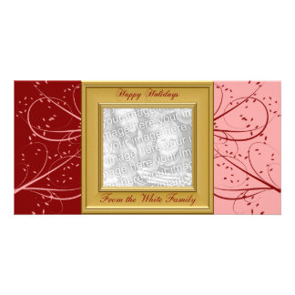KRW Red and Pink Modern Custom Photo Holiday Card