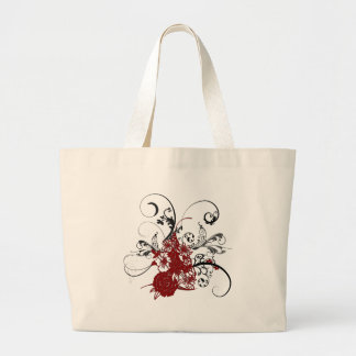 KRW Red Floral Grunge Large Tote Bag