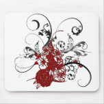 KRW Red Floral Grunge Mouse Pads