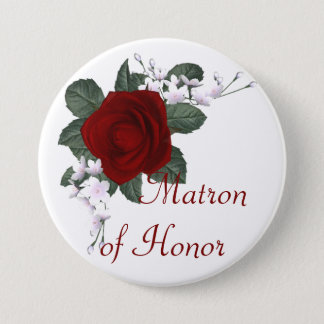 KRW Red Rose Matron of Honor Wedding Pin
