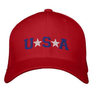 KRW Red White and Blue USA Stars Embroidered Embroidered Baseball Cap