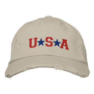 KRW Red White and Blue USA Stars Embroidered Embroidered Cap