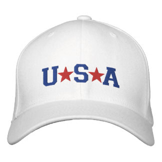KRW Red White and Blue USA Stars Embroidered Embroidered Hat
