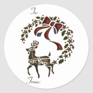 KRW Reindeer Stencil To and From Stick on Tags