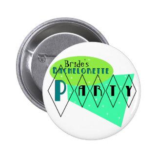 KRW Retro Bachelorette Party Custom Lime Aqua Pin