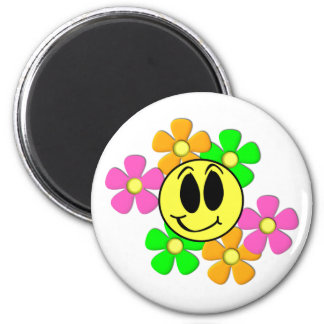 KRW Retro Smilie Face and Neon Flowers 6 Cm Round Magnet