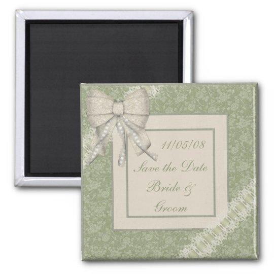 KRW Sage Green Custom Save the Date Wedding Square Magnet