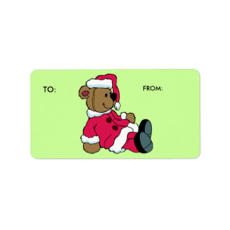 KRW Santa Teddy Christmas To and From Label Address Label