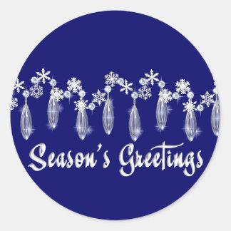 KRW Season's Greeting Snowdrops Seals - Blue Round Sticker