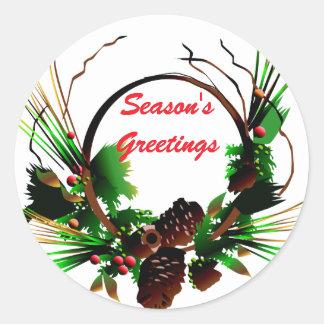 KRW Season's Greetings Pine Cone Holiday Classic Round Sticker