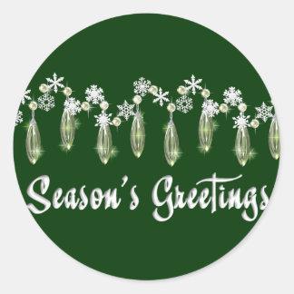KRW Season's Greetings Snowdrops Seal - Green Classic Round Sticker