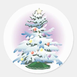 KRW Snowy Christmas Tree Classic Round Sticker