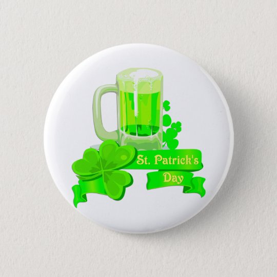 KRW St Patrick's Day Green Beer 6 Cm Round Badge