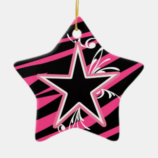 KRW Star and Swirls Zebra Black and Pink Keepsake Christmas Ornament