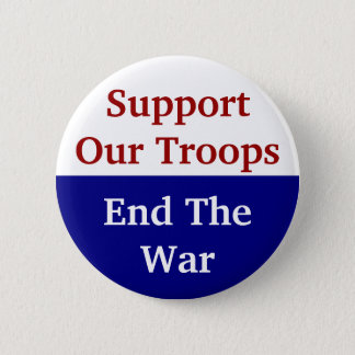 KRW Support Our Troops End The War 6 Cm Round Badge