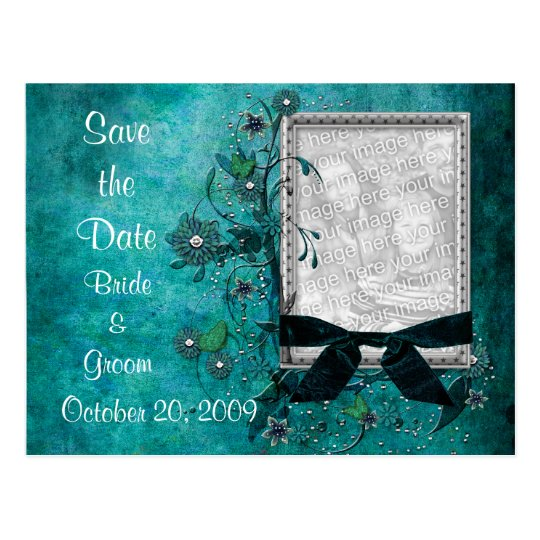 KRW Teal Flowers and Bows Photo Save the Date Postcard