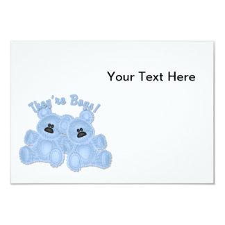 KRW They're Boys Twins Blue Teddy Bears Place Card 9 Cm X 13 Cm Invitation Card