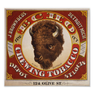 KRW Vintage 1873 Echo Chewing Tobacco Label Poster