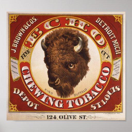 KRW Vintage 1873 Echo Chewing Tobacco Label Poster