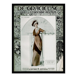 KRW Vintage 1907 French Fashion Magazine Cover Poster