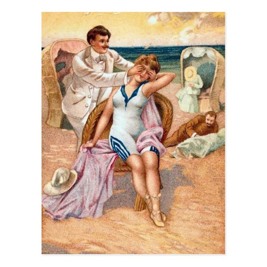 Krw Vintage Beach Illustration Postcard Zazzle Co Uk