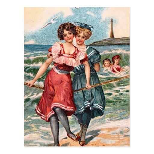 KRW Vintage Beach Illustration Postcard | Zazzle