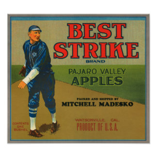 KRW Vintage Best Strike Apples Crate Label Poster