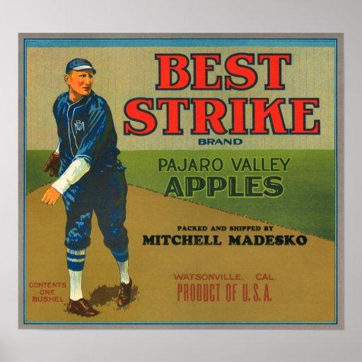 KRW Vintage Best Strike Apples Crate Label Posters
