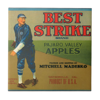 KRW Vintage Best Strike Apples Crate Label Small Square Tile