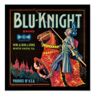 KRW Vintage Blu-Knight Fruit Crate Label Poster
