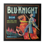 KRW Vintage Blu-Knight Fruit Crate Label Small Square Tile