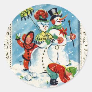 KRW Vintage Children at Play Christmas Sticker