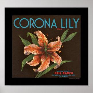 KRW Vintage Corona Lily Orange Crate Label Poster