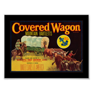 KRW Vintage Covered Wagon Pears Fruit Crate Label Posters