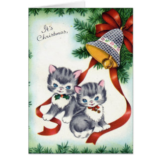 KRW Vintage Cute Kittens Christmas Card