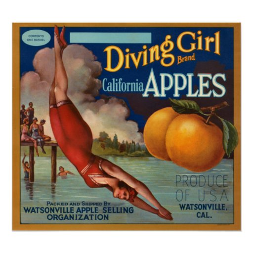 KRW Vintage Diving Girl Apple Fruit Crate Label Poster