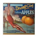 KRW Vintage Diving Girl Apple Fruit Crate Label Small Square Tile