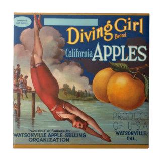 KRW Vintage Diving Girl Apple Fruit Crate Label Tile