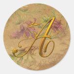 KRW Vintage Floral Gold A Monogram Wedding Seal Round Sticker