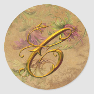 KRW Vintage Floral Gold C Monogram Wedding Seal