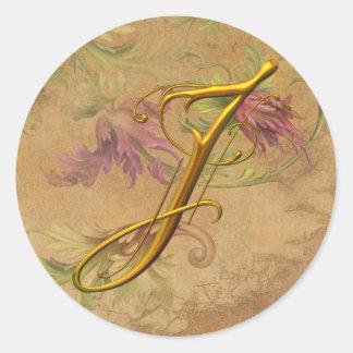 KRW Vintage Floral Gold J Monogram Wedding Seal Classic Round Sticker